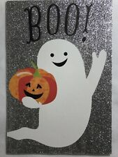 Halloween Card w/ Ghost and Pumpkin with Silver Glitter