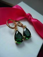 4Ct Pear Cut Green Emerald Drop/Dangle Solitaire Earrings 14K Rose Gold Finish