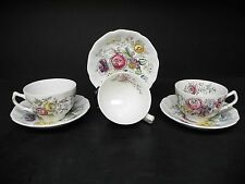 Johnson Brothers Floral Center Sheraton set of 3 Cups with Saucers