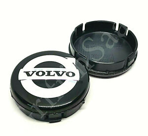 1x Volvo Alloy Wheel Centre Hub Cap 64mm Black & Chrome C30 C70 S40 V50 S60 V70