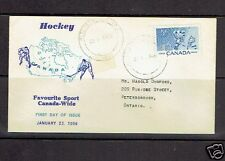 HOCKEY CANADA FIRST DAY COVER 1956 cachet players map klussendorf