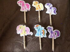 24 MY LITTLE PONY STYLE HORSES BUN BIRTHDAY CAKE TOPPER CUPCAKE PICK DECORATION