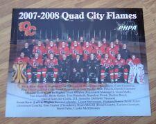 "Quad City Flames 2007-2008 8"" x 10"" Team Photo & Set of 3 Game Roster Pics"