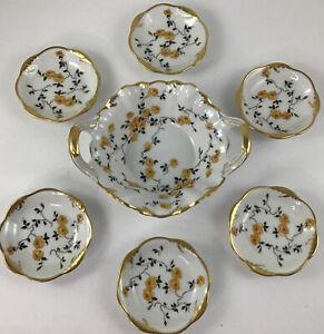 Vintage Antique Weimar Marga German Confectionery PlatesW/ Bowl Set Of 7