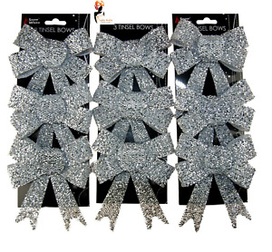 SPARKLING 9 x SILVER TINSEL BOWS Christmas Decorations Tree Bow Pack PM502089 UK