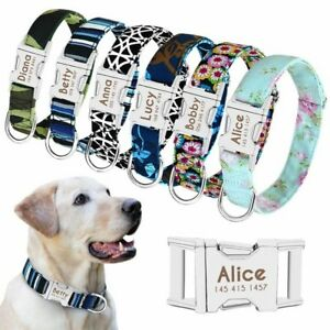 Personalised Dog Fabric Collar Engraved Pet ID Name Tags for Small to Large Dogs