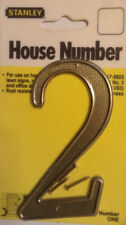 """NEW -""""1960's Vintage"""" Waffle Pattern, Stanley 4"""" Brass House Number 2, 57-9925"""