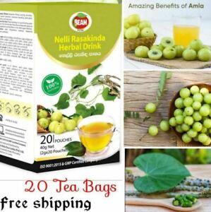 AMLA GREEN/GOOSEBERRY FRUIT & GILOY Natural Herbal CEYLON  Drink  20  Tea Bags