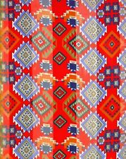 "Aztec Print Navy Green Lavender Red Background Satin Stripe 13"" x 60 Long Scarf"