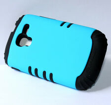 for Samsung Galaxy Exhibit 4G T599 Turquoise Teal Blue Hard & Soft Rubber Case