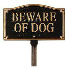 """Whitehall Products """" Beware of Dog """" Garden Yard Lawn sign Black Gold Outdoor"""