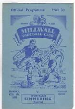 Orig.PRG   07.02.1955    MILLWALL FC - 1.SIMMERINGER SC