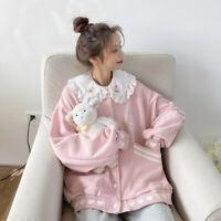 Japanese women girl top sweet embroidered pink jacket coat Causal Loose kawaii