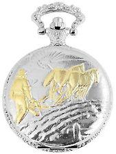 Reloj de bolsillo Blanco Dorado Pleateado Caballos El trabajo S-480812000037500