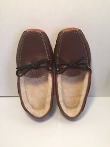 Men's LL Bean Bison Double Sole Leather -Shearling Lined Slippers House Shoes 9D