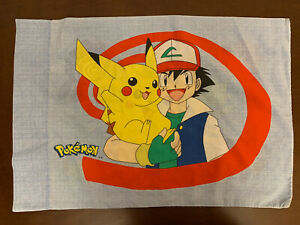 Vintage 1995 Pokemon Pillowcase Pillow Case Blue Fabric Pikachu Standard L12