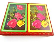 Vintage Plastic Coated Playing Cards Roses