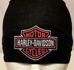 Harley Davidson Biker SKULL CAP Motorcycle Bandana Head Wrap Black & Orange
