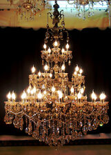 45 Arms Palace Antique Bronze Teak Zinc Alloy Cognac Crystal Chandelier Light