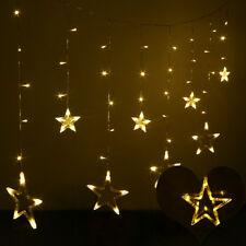 138 LED Star Fairy Curtain Window String Lights Bedroom Kids Room Holiday Party