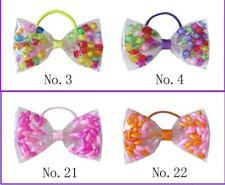 "50 Blessing Girl 4.5"" Crystal Hair Bow Transparent Pvc Accessories Swim Elastics"