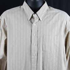 Vintage Ralph Lauren Mens L Large Afton Long Sleeve Pullover Shirt Tan Striped