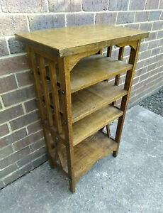 Antique Vintage Arts and Crafts Mission Oak Book Magazine Shelf Stand Bookcase