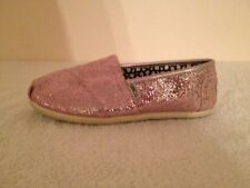 Toms Pink Glitter Slip on Shoes Used W 6.5