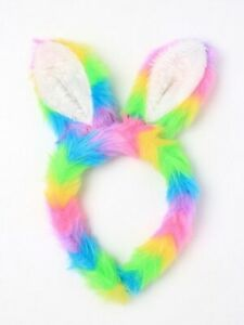 New Plush Rainbow Bunny Rabbit Ears Faux Fur Headband Alice Bands Fancy Dress UK