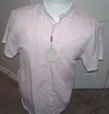 $520 Brioni Pink Linen/cotton Short Sleeve Shirt Size 40 hand made in Italy