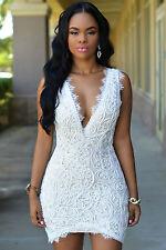 Abito a cono aperto ricamato pizzo nudo trasparente Lace Crochet Mini Club Dress