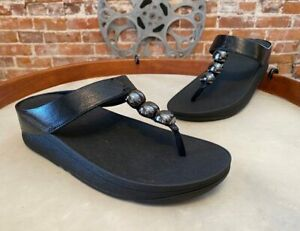 FitFlop Black Francheska Glitzy Toe Post Sandal 7 38 Sale New Thong
