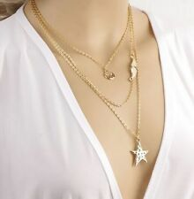 Women Mixed Star Bead Charm Gold Plated Chain Pendant Collar Bib Necklace