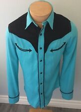 Ralph Lauren RRL Teal And Black Western Snap Button Fitted Shirt Medium