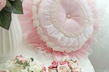 Shabby Chic Girl Princess Floral Pink Round Throw Pillow Cushion * Ruffle
