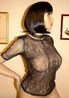 chemisier T40/42 neuf dentelle noir zippé toute hauteur au dos bluse blouse L eb