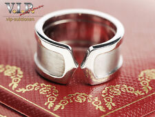 CARTIER DOPPEL-C-LOGO BAGUE RING WEISSGOLD 18K/750 WHITE GOLD Gr.55+ORIGINAL BOX