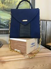 Texier Vintage Handbag Gold Chain Blue Leather Accents Handle Handbag France