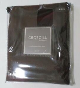 Croscill PLATEAU Faux Leather EURO Sham Dark Brown 26x26 Zip Close Vegan NIP