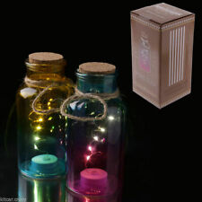 NOVELTY COLOURED GLASS JAR WITH LED LIGHT AND CORK , VARIOUS COLOURS, NIGHT LAMP