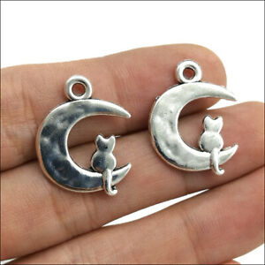 50pcs cat moon Antique Silver Charms Pendants For Jewelry Making DIY 23*28mm