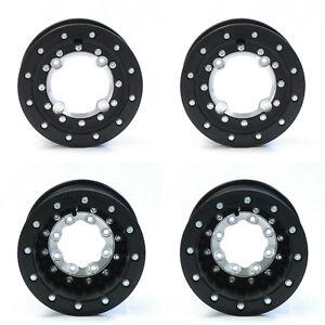 "Hiper Tech 3 Black Beadlock Carbon Fiber Rims Wheels 10"" 4+1 Front 9"" Rear TRX"