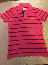 Para Hombres Camisa Polo Hollister, azul marino y rosa a rayas, Medio, bien usado estado
