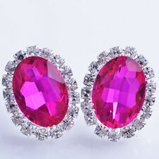 Fashion Jewelry silve plated Rose Red Big Oval Clean Crystal Stud Earrings