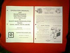 MIGHTY MURC LOG SPLITTER WOOD SPLITTER 200AG 350EC 550DX 850RC OWNER'S MANUAL