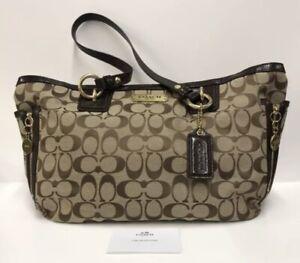 COACH Signature Jacquard Khaki Brown Leather Shoulder Bag D1280-F19249 Authentic