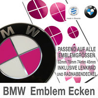 BMW PINK Emblem Ecken - Aufkleber, Decal, Sticker 82mm 78mm 74mm Lenkrad Rad