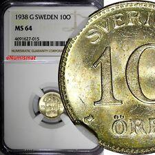 SWEDEN Gustaf V Silver 1938 G 10 Ore NGC MS64 GEM BU  KM# 780