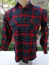 Vtg PENDLETON Large Flannel Shirt Red Blue Green & Yellow Plaid Wool MADE IN USA
