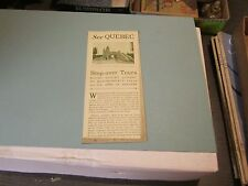 1920's Canadian White Star Cruise Ship Line See Quebec Travel Brochure 4 Tours